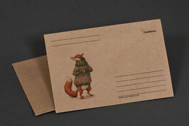 Крафт-конверт «Лиса в свитере и с кружкой»