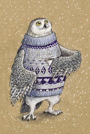 Сова в свитере и с кружкой