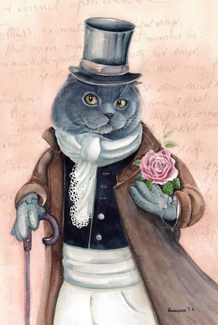 Сэр Кот с розой