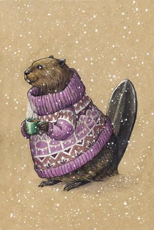 Бобер в свитере и с кружкой